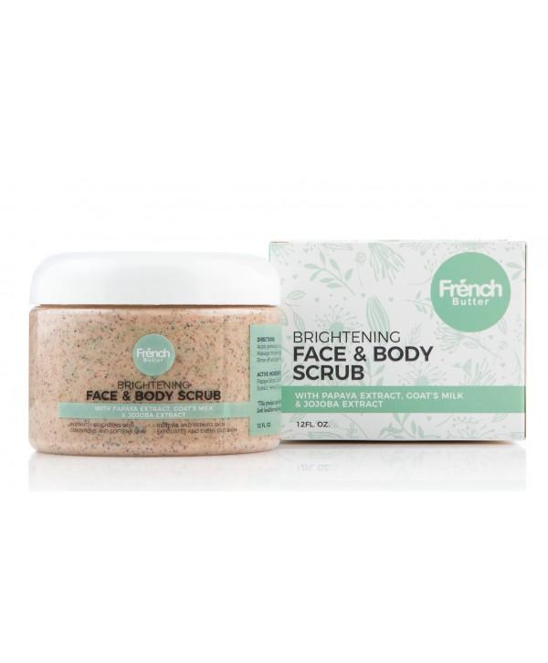Brightening Face & Body Scrub wt Goat's Milk, Apricot, Jojoba & Papain Extracts 12oz